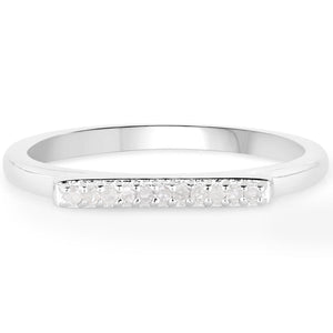 LoveHuang 0.05 Carats Genuine White Diamond (I-J, I2-I3) Layer Ring Solid .925 Sterling Silver With Rhodium Plating