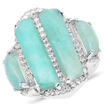 LoveHuang 10.64 Carats Genuine Amazonite and White Topaz Art Deco Ring Solid .925 Sterling Silver With Rhodium Plating