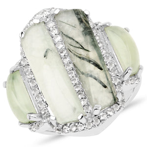 LoveHuang 7.69 Carats Genuine Prehnite and White Topaz Bar Ring Solid .925 Sterling Silver With Rhodium Plating