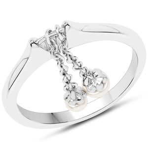 LoveHuang 0.35 Carats Genuine Pearl Dangle Ring Solid .925 Sterling Silver With Rhodium Plating