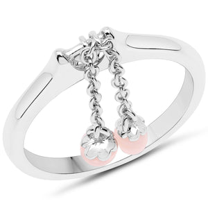 LoveHuang 0.29 Carats Genuine Pink Opal Dangling Ring Solid .925 Sterling Silver With Rhodium Plating