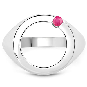 LoveHuang 0.07 Carats Genuine Ruby Ring Solid .925 Sterling Silver With Rhodium Plating