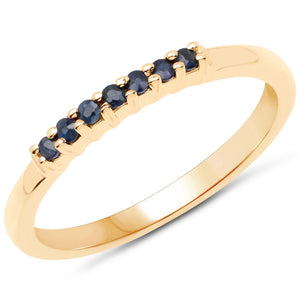 LoveHuang 0.13 Carats Genuine Blue Sapphire Stacking Ring Solid .925 Sterling Silver With 18KT Yellow Gold Plating