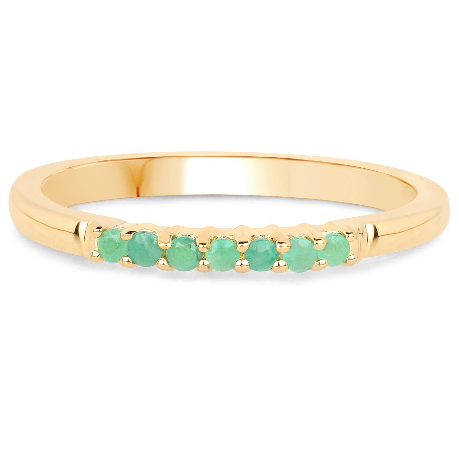 LoveHuang 0.11 Carats Genuine Emerald Stacking Ring Solid .925 Sterling Silver With 18KT Yellow Gold Plating