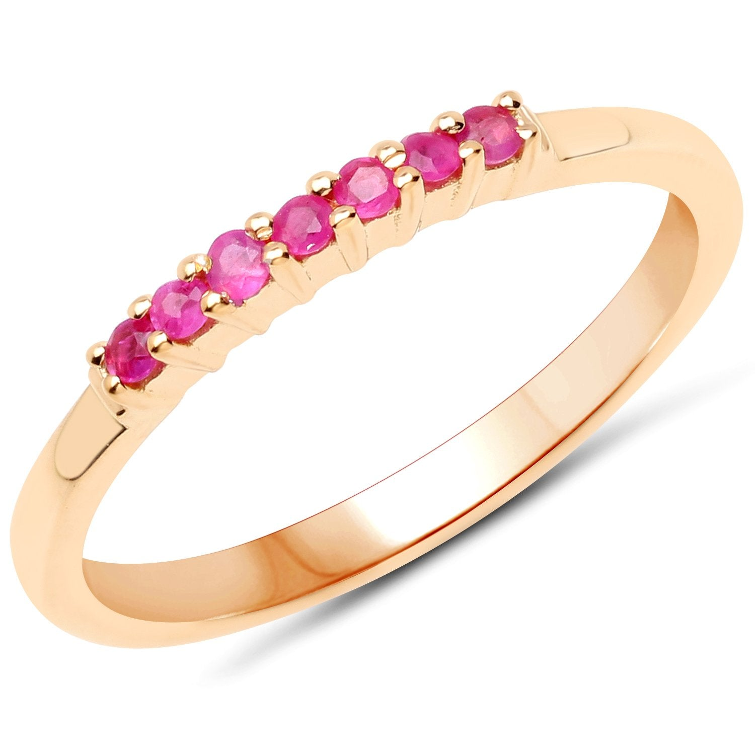LoveHuang 0.12 Carats Genuine Ruby Stacking Ring Solid .925 Sterling Silver With 18KT Yellow Gold Plating