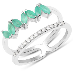 LoveHuang 0.56 Carats Genuine Emerald and White Diamond (I-J, I2-I3) Dual Ring Solid .925 Sterling Silver With Rhodium Plating