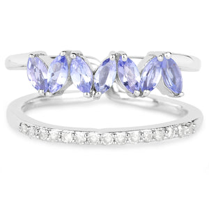 LoveHuang 0.62 Carats Genuine Tanzanite and White Diamond (I-J, I2-I3) Dual Ring Solid .925 Sterling Silver With Rhodium Plating