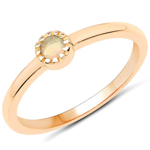 LoveHuang 0.09 Carats Genuine Ethiopian Opal Stacking Ring Solid .925 Sterling Silver With 18KT Yellow Gold Plating
