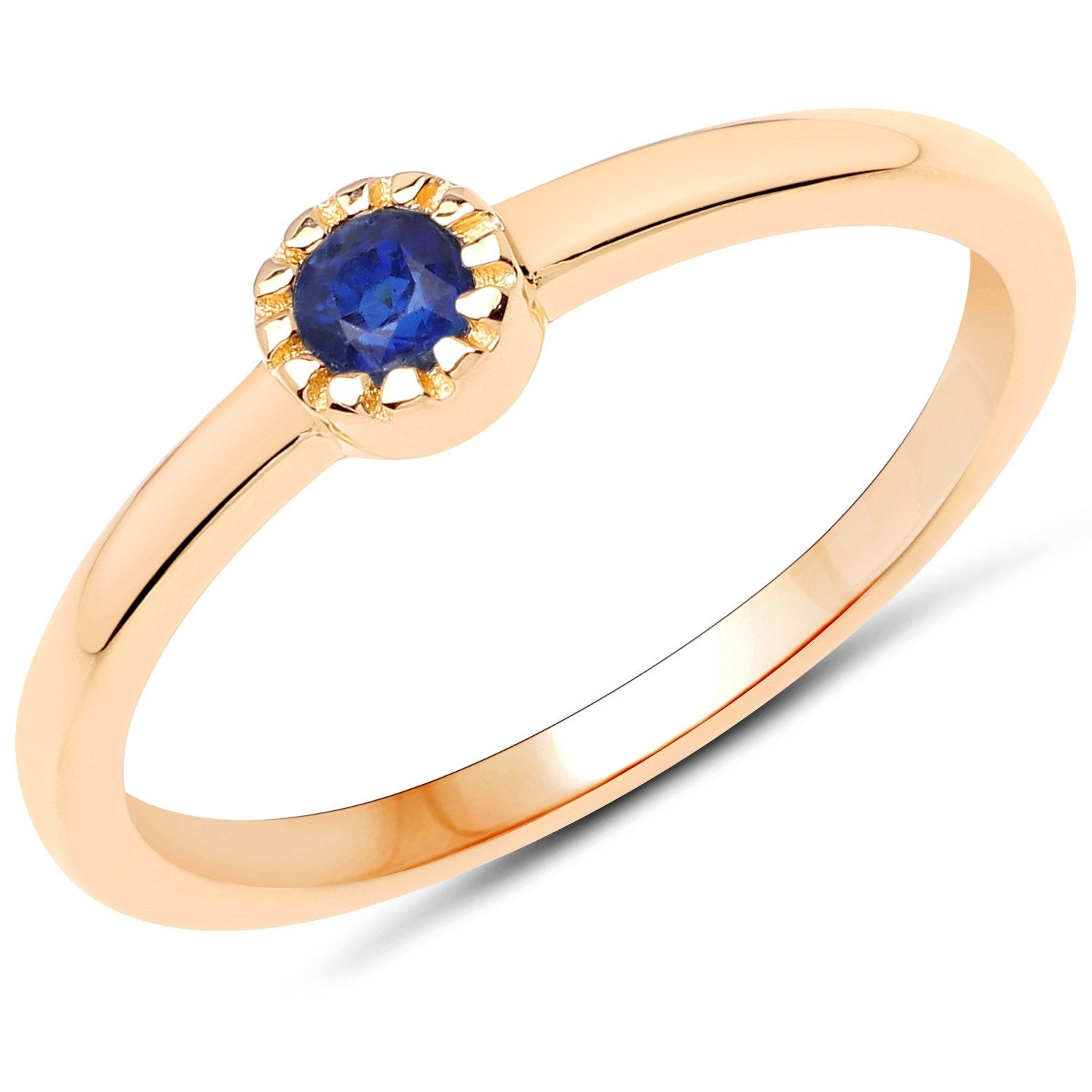 LoveHuang 0.13 Carats Genuine Kyanite Stacking Ring Solid .925 Sterling Silver With 18KT Yellow Gold Plating