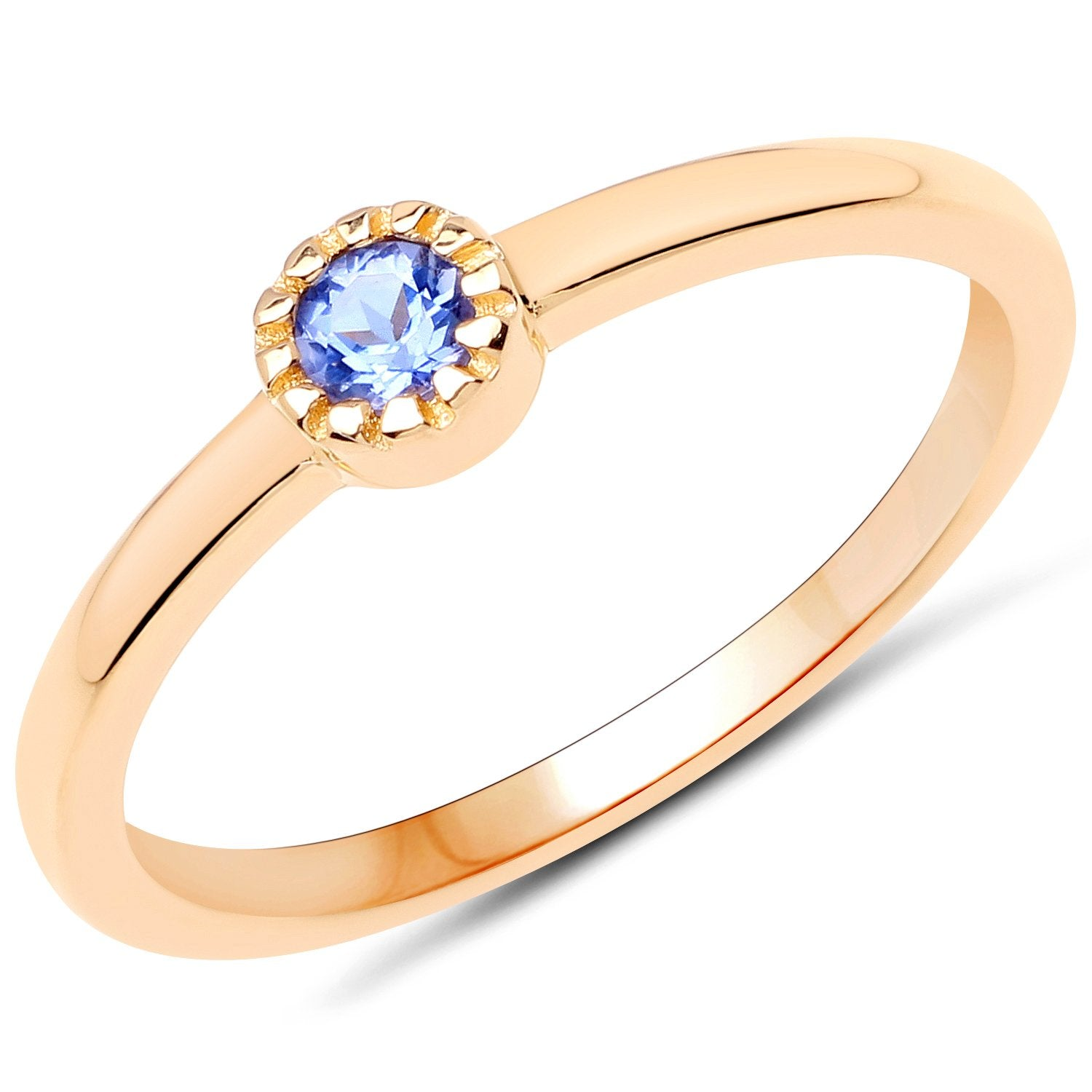 LoveHuang 0.09 Carats Genuine Tanzanite Stacking Ring Solid .925 Sterling Silver With 18KT Yellow Gold Plating
