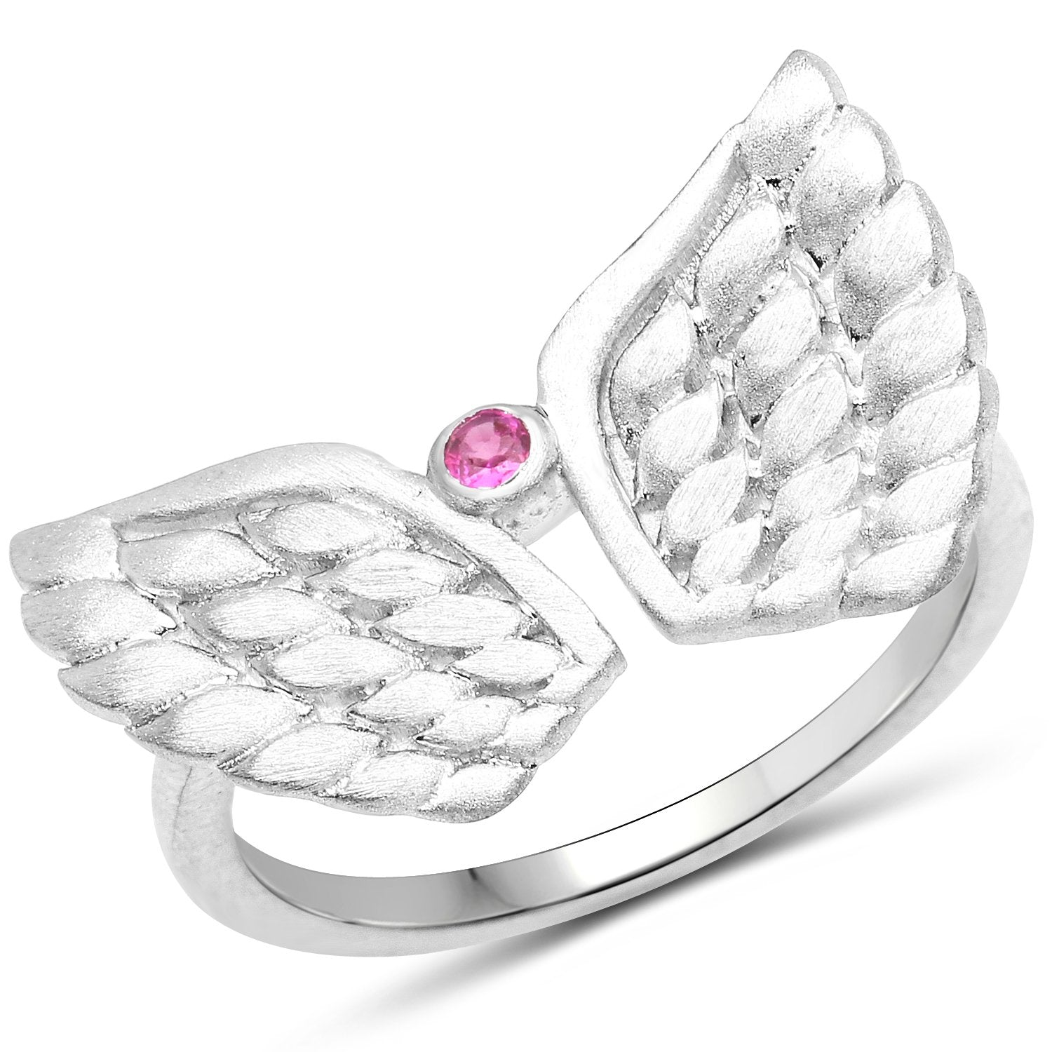 LoveHuang 0.05 Carats Genuine Ruby Angel Ring Solid .925 Sterling Silver With Rhodium Plating, Matte Finish
