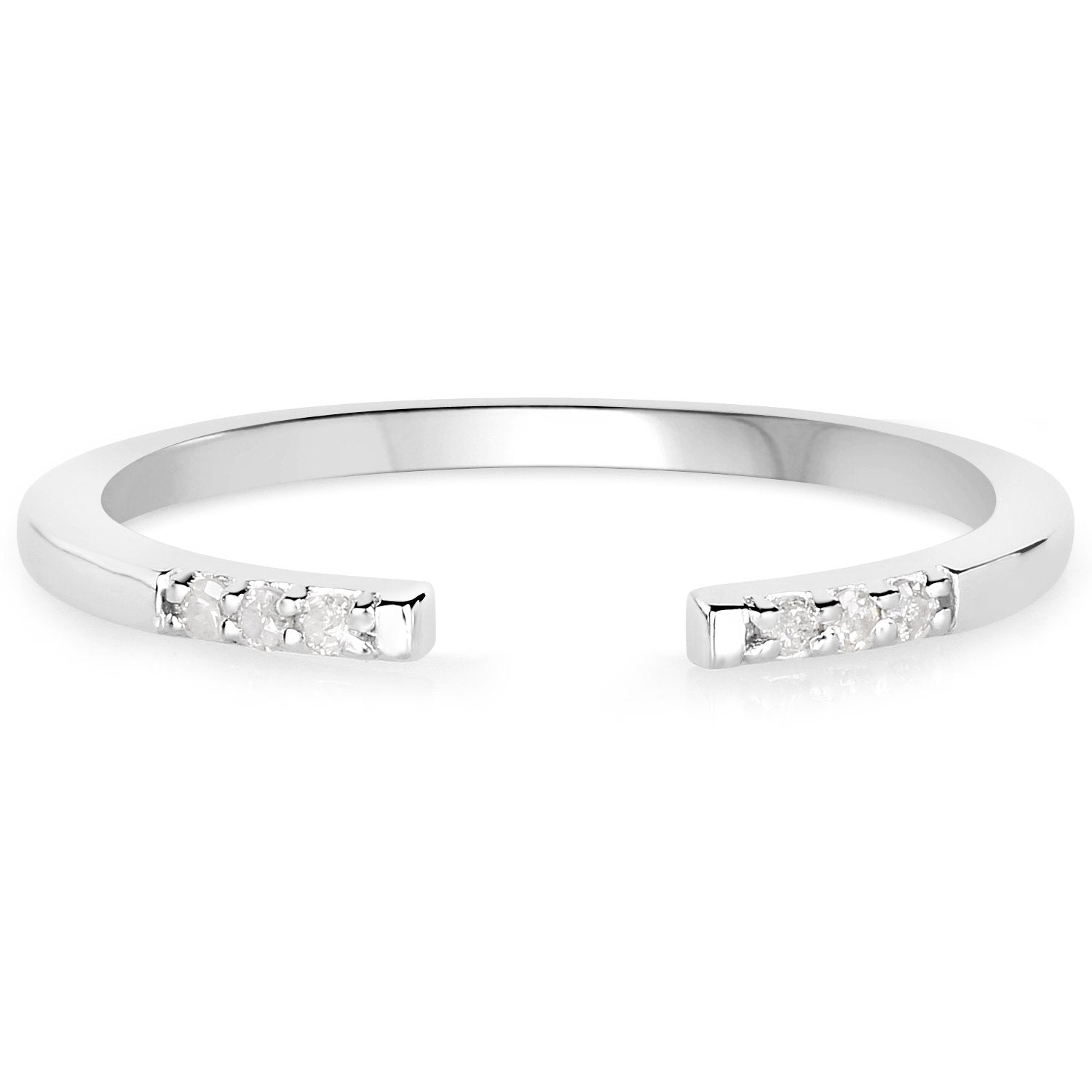 LoveHuang 0.04 Carats Genuine White Diamond (I-J, I2-I3) Open Stacking Ring Solid .925 Sterling Silver With Rhodium Plating