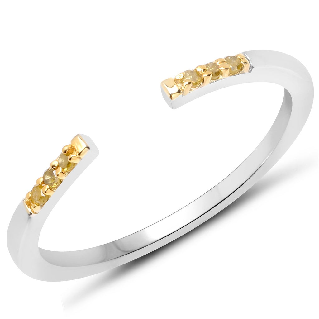 LoveHuang 0.04 Carats Genuine Yellow Diamond (I-J, I2-I3) Open Stacking Ring Solid .925 Sterling Silver With Rhodium Plating