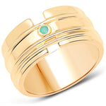 LoveHuang 0.03 Carats Genuine Emerald Minimalist Ring Solid .925 Sterling Silver With 18KT Yellow Gold Plating