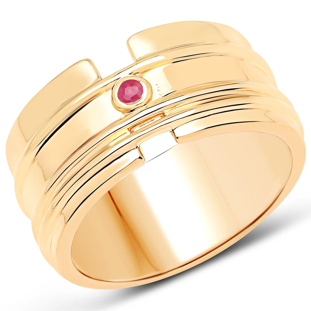 LoveHuang 0.04 Carats Genuine Ruby Minimalist Ring Solid .925 Sterling Silver With 18KT Yellow Gold Plating