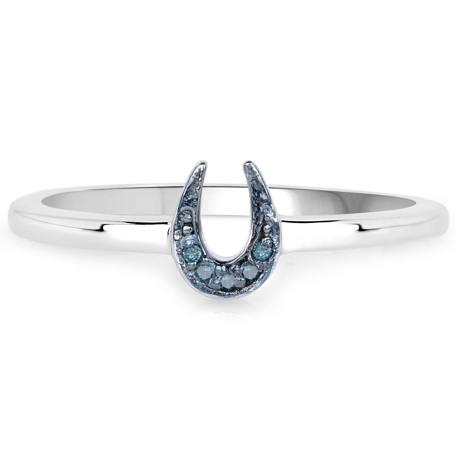 LoveHuang 0.02 Carats Genuine Blue Diamond (I-J, I2-I3) Horseshoes Ring Solid .925 Sterling Silver With Rhodium Plating