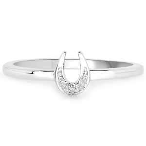 LoveHuang 0.02 Carats Genuine White Diamond (I-J, I2-I3) Horseshoes Ring Solid .925 Sterling Silver With Rhodium Plating