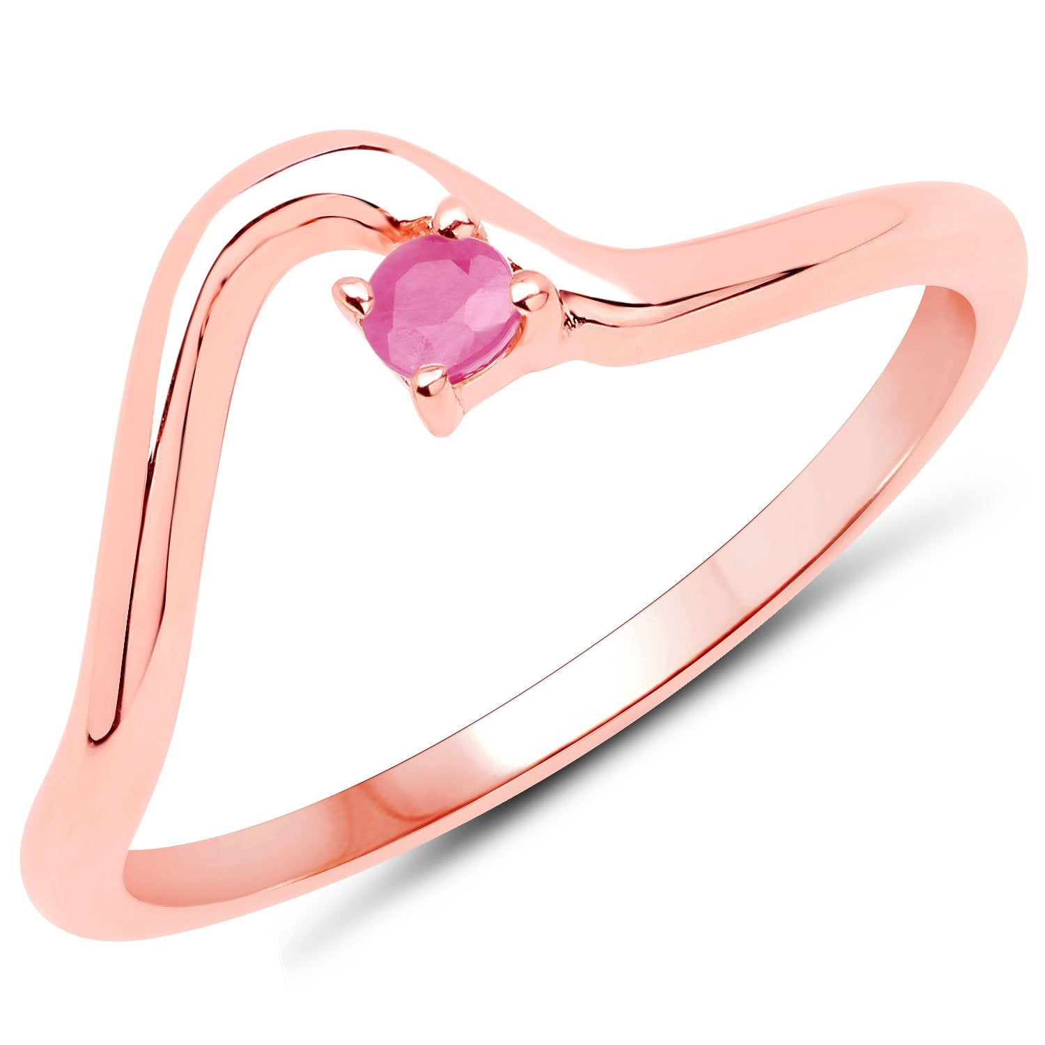 LoveHuang 0.07 Carats Genuine Ruby Minimalist Ring Solid .925 Sterling Silver With 18KT Rose Gold Plating