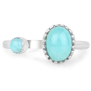 LoveHuang 1.45 Carats Genuine Amazonite Ring Solid .925 Sterling Silver With Rhodium Plating