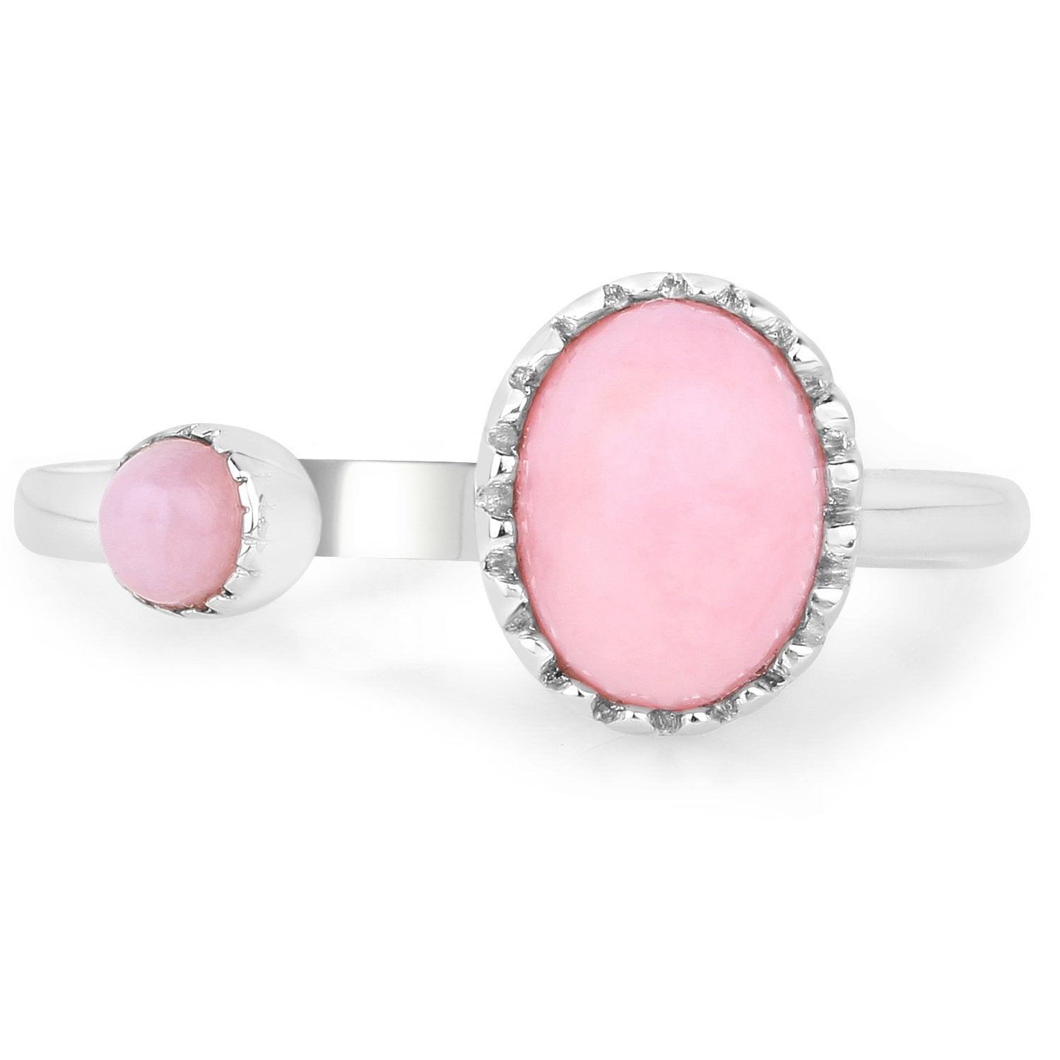 LoveHuang 1.10 Carats Genuine Pink Opal Ring Solid .925 Sterling Silver With Rhodium Plating