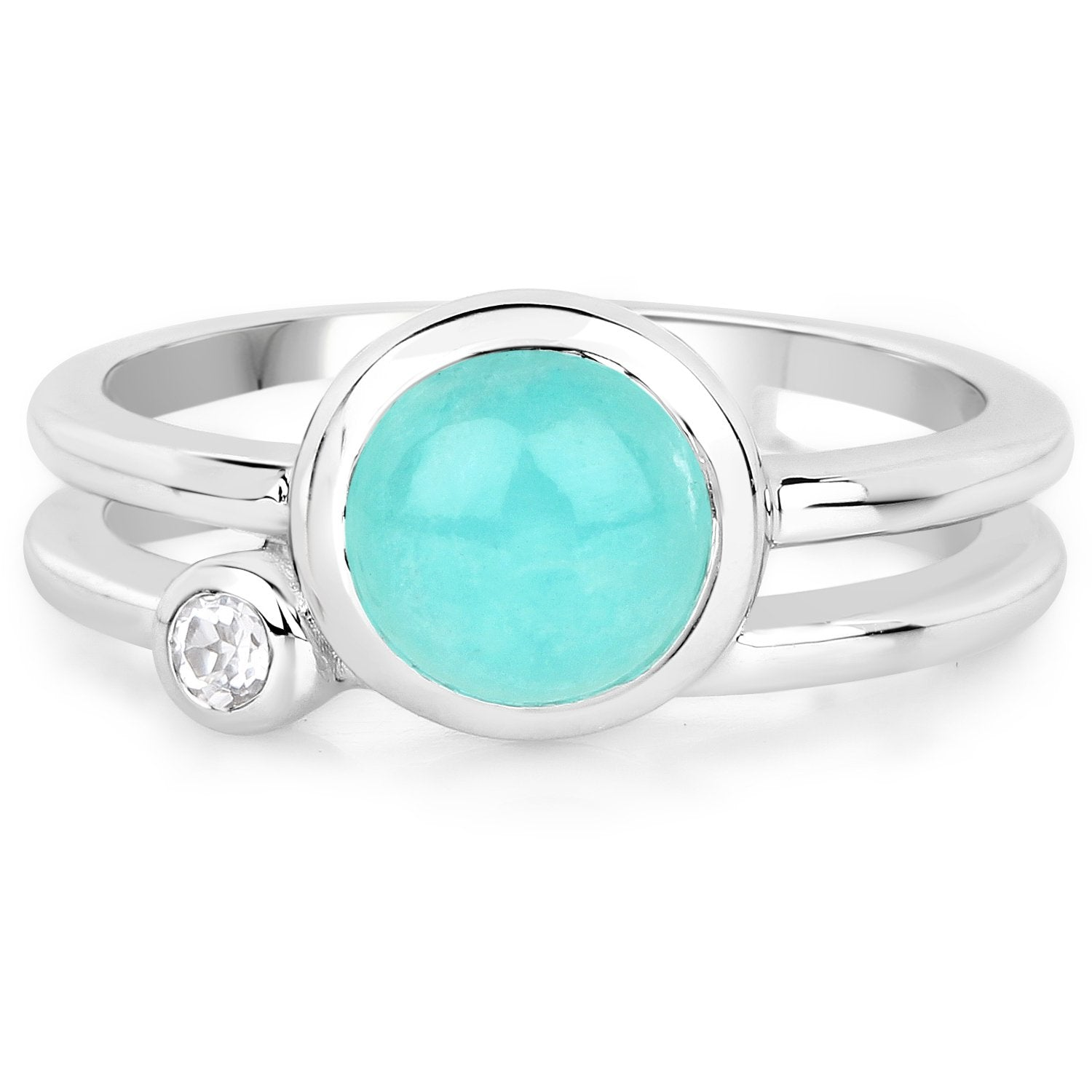 LoveHuang 1.34 Carats Genuine Amazonite and White Topaz Ring Solid .925 Sterling Silver With Rhodium Plating