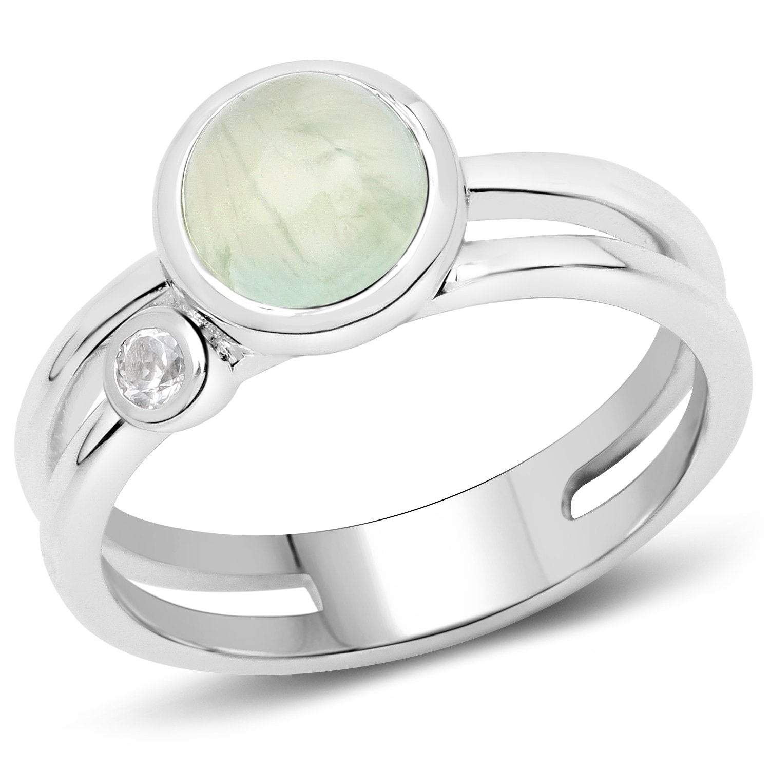 LoveHuang 1.81 Carats Genuine Prehnite and White Topaz Ring Solid .925 Sterling Silver With Rhodium Plating
