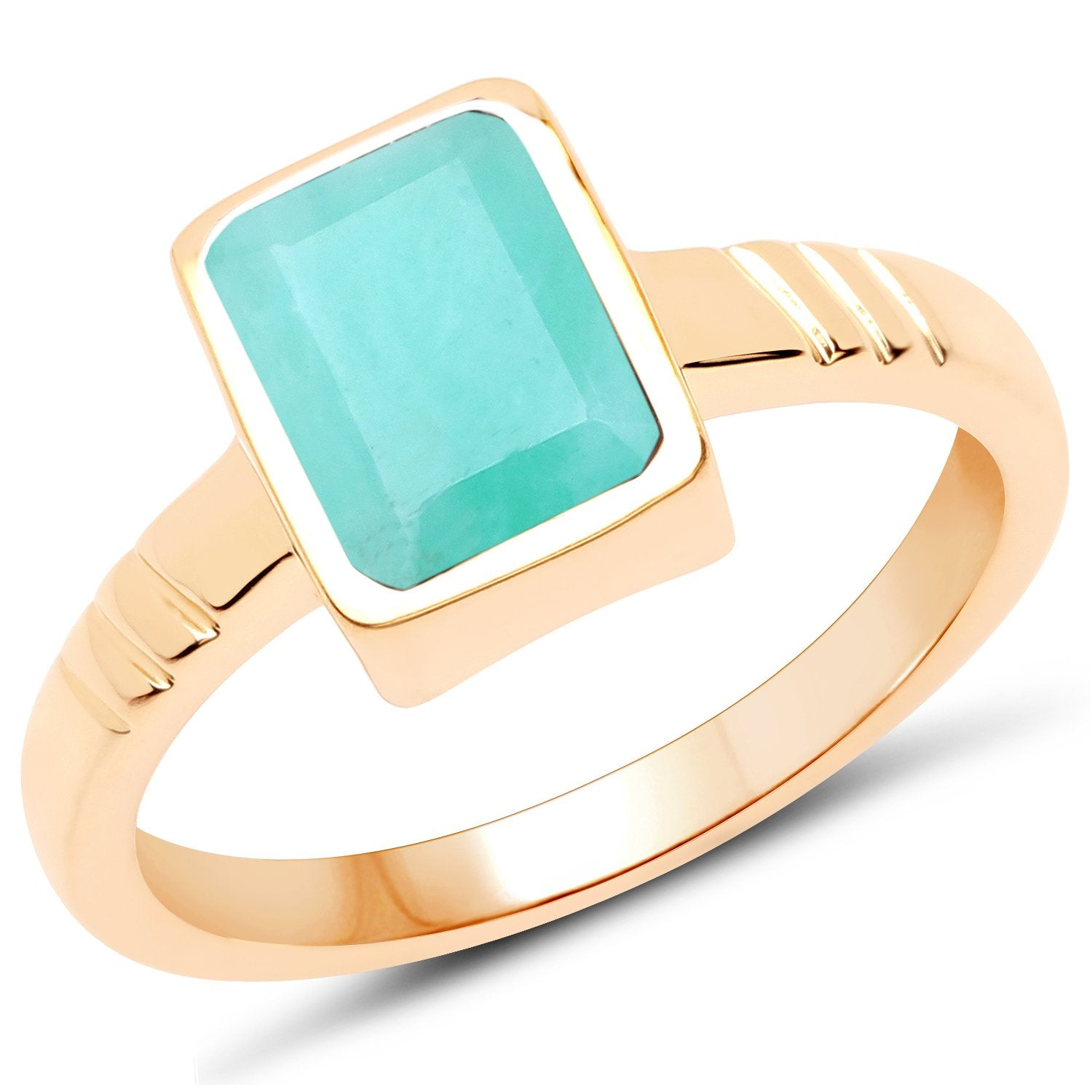 LoveHuang 1.44 Carats Genuine Sakota Emerald Mark lll Ring Solid .925 Sterling Silver With 18KT Yellow Gold Plating