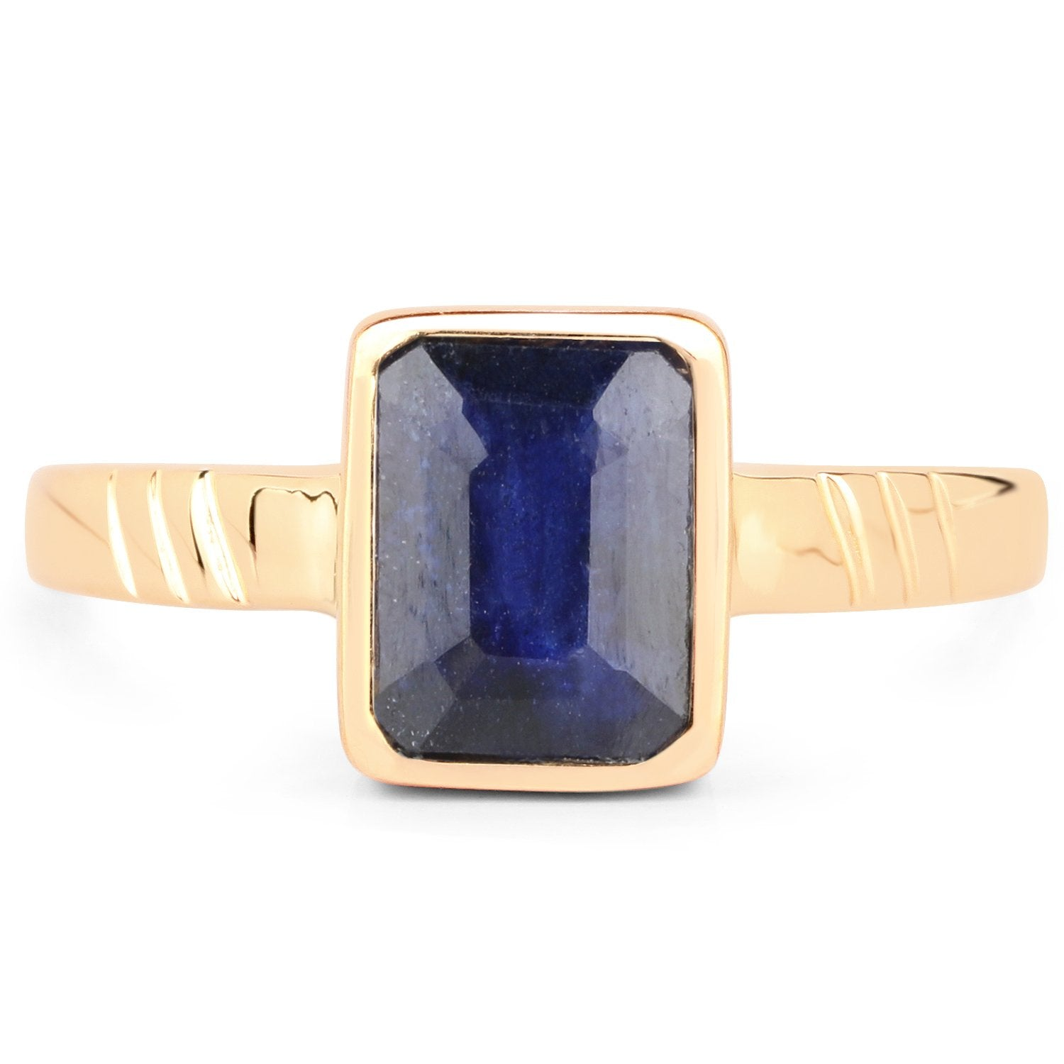 LoveHuang 2.25 Carats Genuine Blue Sapphire Mark lll Ring Solid .925 Sterling Silver With 18KT Yellow Gold Plating
