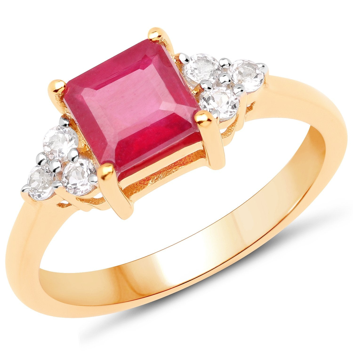 LoveHuang 1.79 Carats Genuine Ruby and White Topaz Square Ring Solid .925 Sterling Silver With 18KT Yellow Gold Plating