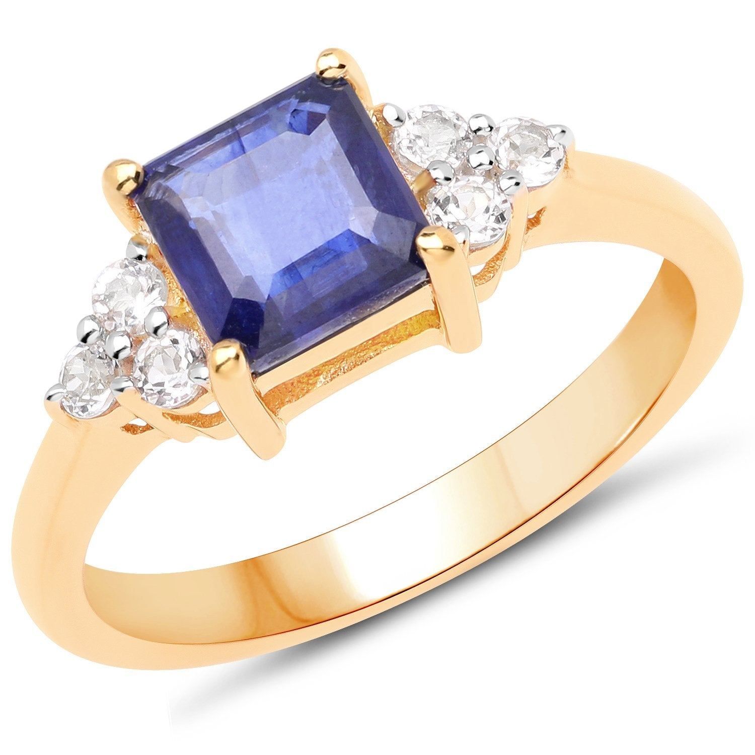 LoveHuang 1.79 Carats Genuine Blue Sapphire and White Topaz Square Ring Solid .925 Sterling Silver With 18KT Yellow Gold Plating