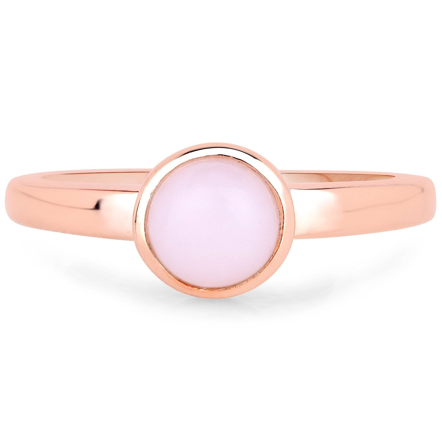LoveHuang 0.79 Carats Genuine Pink Opal Bezel Ring Solid .925 Sterling Silver With 18KT Rose Gold Plating