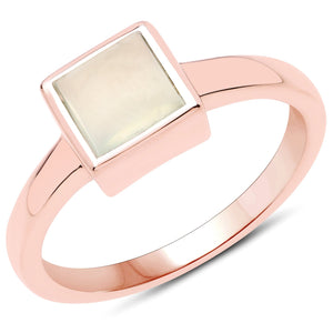 LoveHuang 1.57 Carats Genuine Prehnite Ring Solid .925 Sterling Silver With 18KT Rose Gold Plating