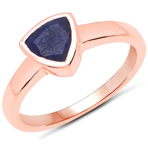 LoveHuang 0.62 Carats Genuine Blue Aventurine Trillion Bezel Ring Solid .925 Sterling Silver With 18KT Rose Gold Plating