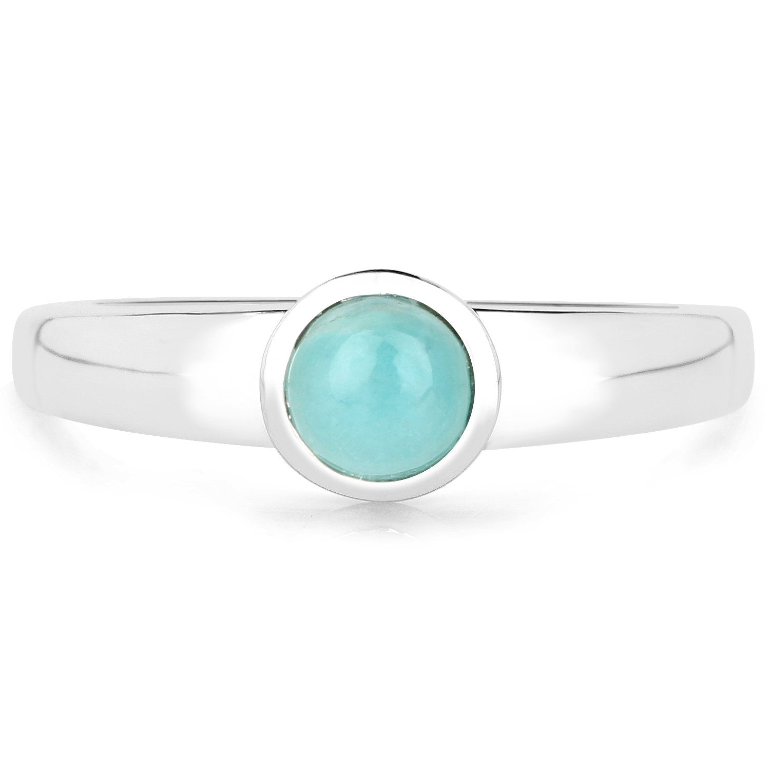 LoveHuang 0.54 Carats Genuine Amazonite Ring Solid .925 Sterling Silver With Rhodium Plating