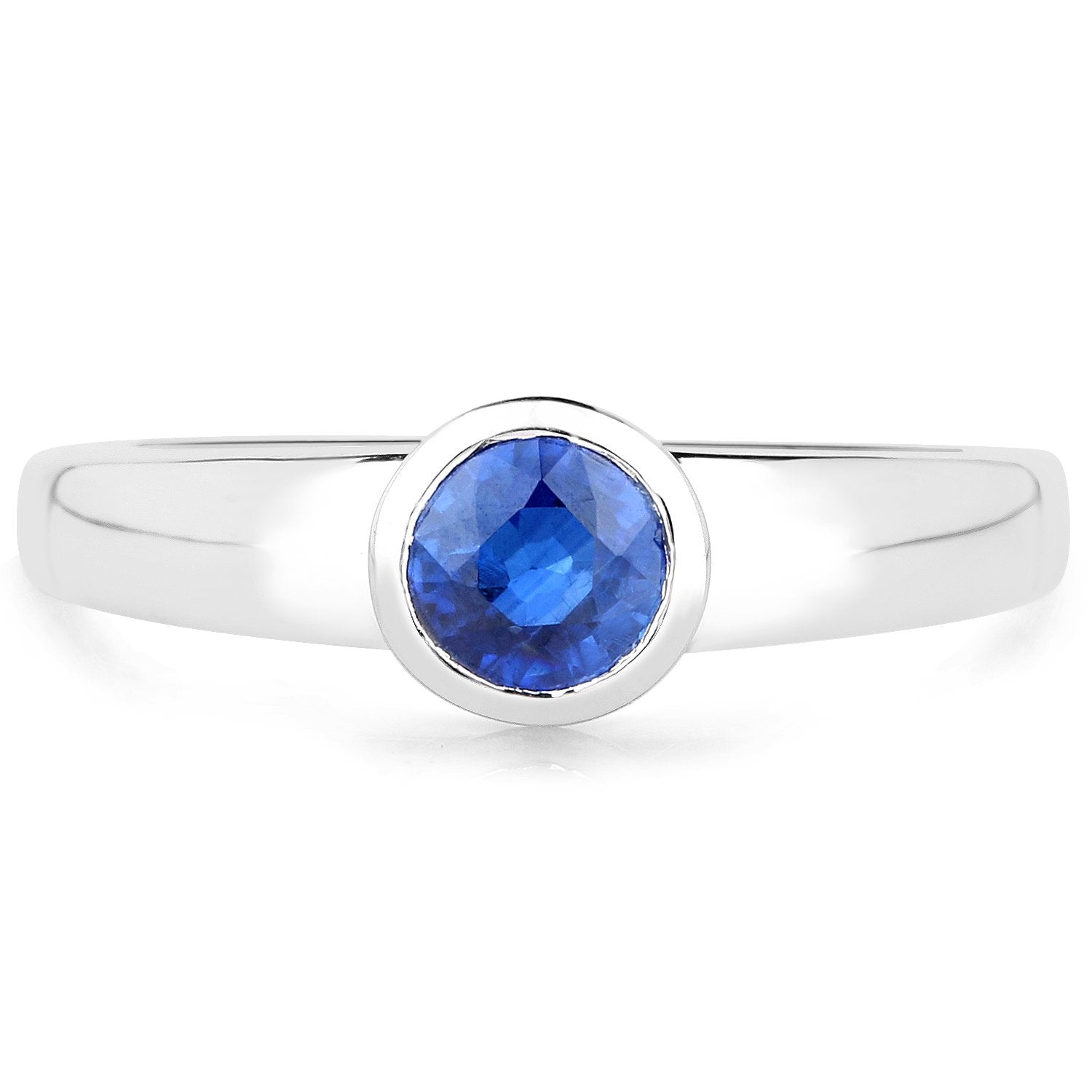 LoveHuang 0.59 Carats Genuine Kyanite Round Bezel Ring Solid .925 Sterling Silver With Rhodium Plating