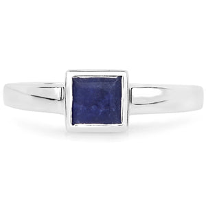 LoveHuang 0.57 Carats Genuine Blue Aventurine Square Bezel Ring Solid .925 Sterling Silver With Rhodium Plating