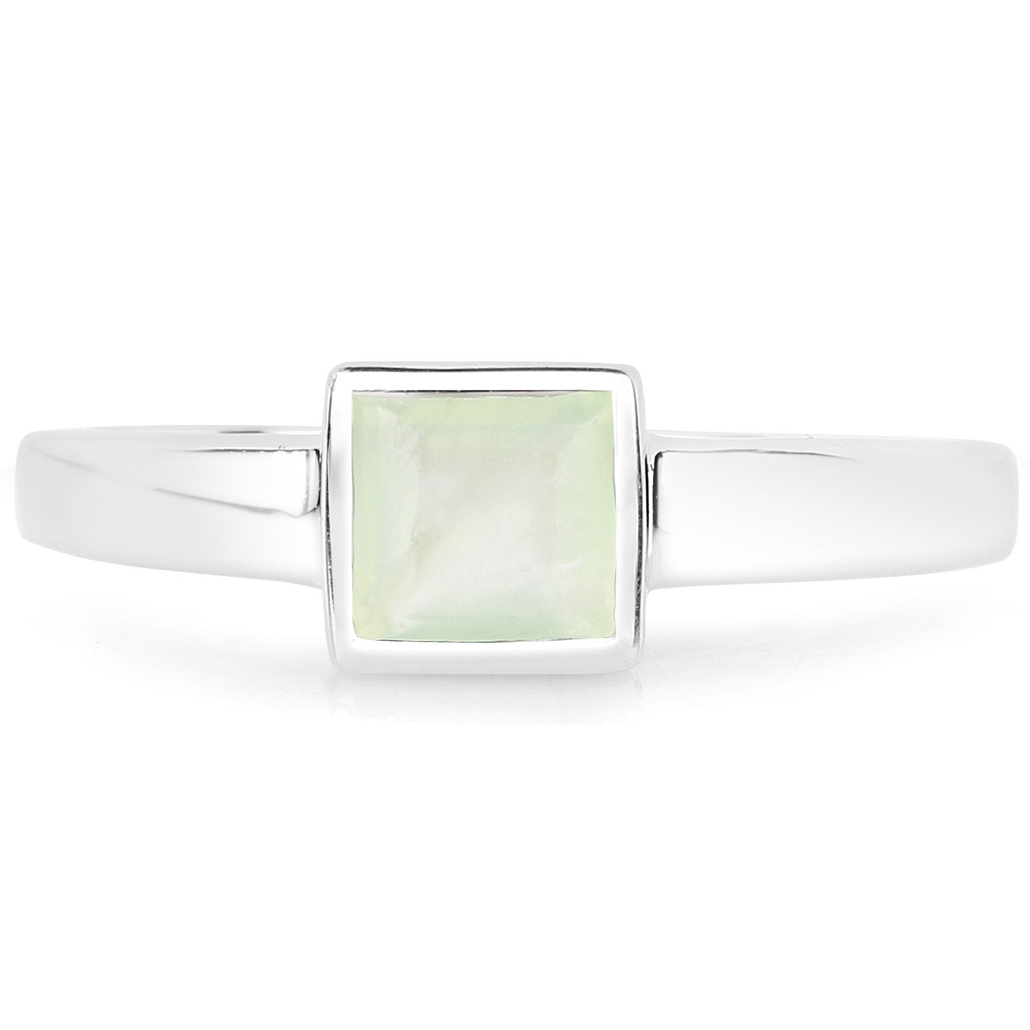LoveHuang 0.68 Carats Genuine Prehnite Ring Solid .925 Sterling Silver With Rhodium Plating