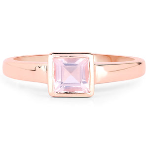 LoveHuang 0.59 Carats Genuine Rose Quartz Square Bezel Ring Solid .925 Sterling Silver With 18KT Rose Gold Plating