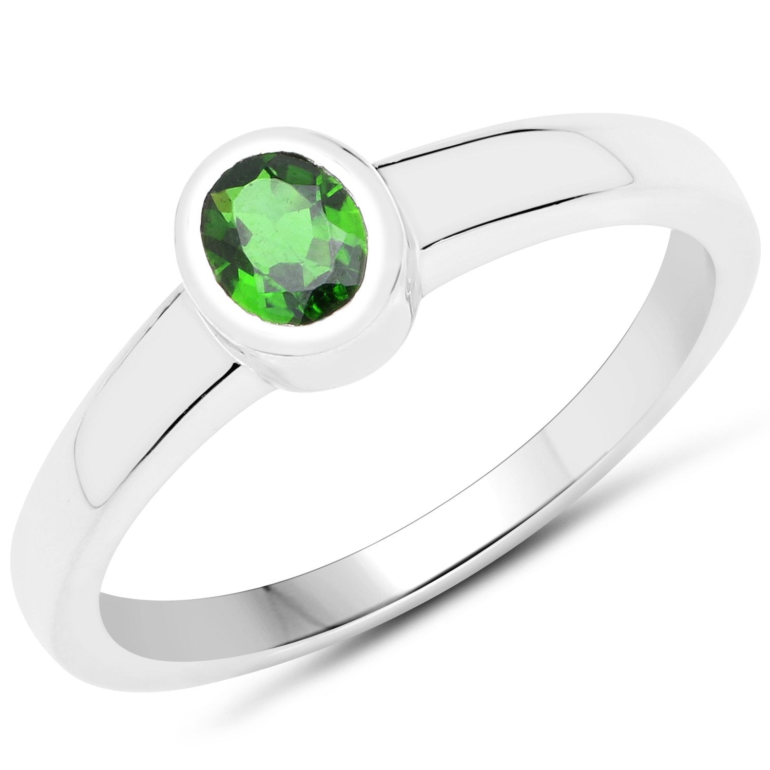 LoveHuang 0.30 Carats Genuine Chrome Diopside Oval Bezel Ring Solid .925 Sterling Silver With Rhodium Plating