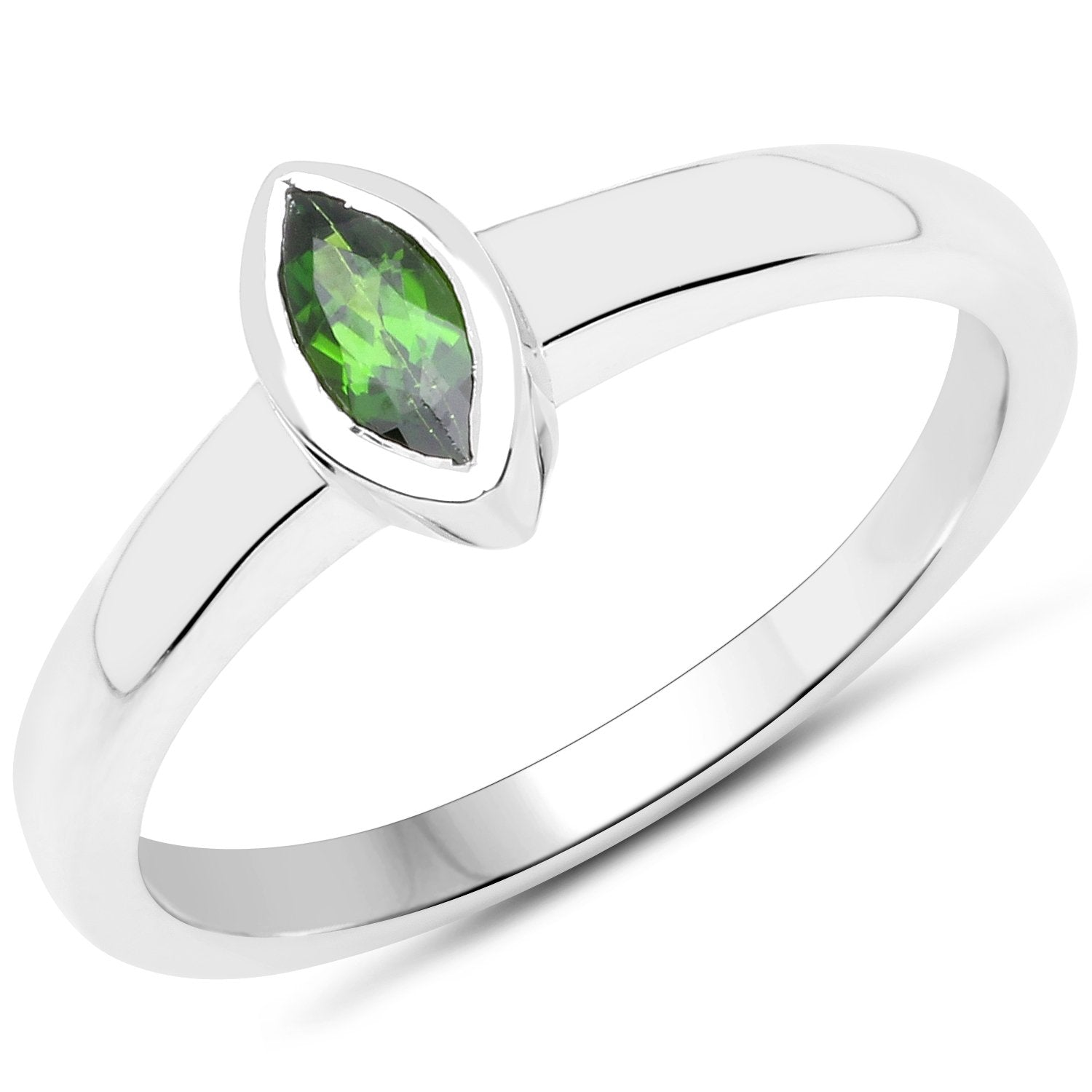 LoveHuang 0.23 Carats Genuine Chrome Diopside Marquise Bezel Ring Solid .925 Sterling Silver With Rhodium Plating