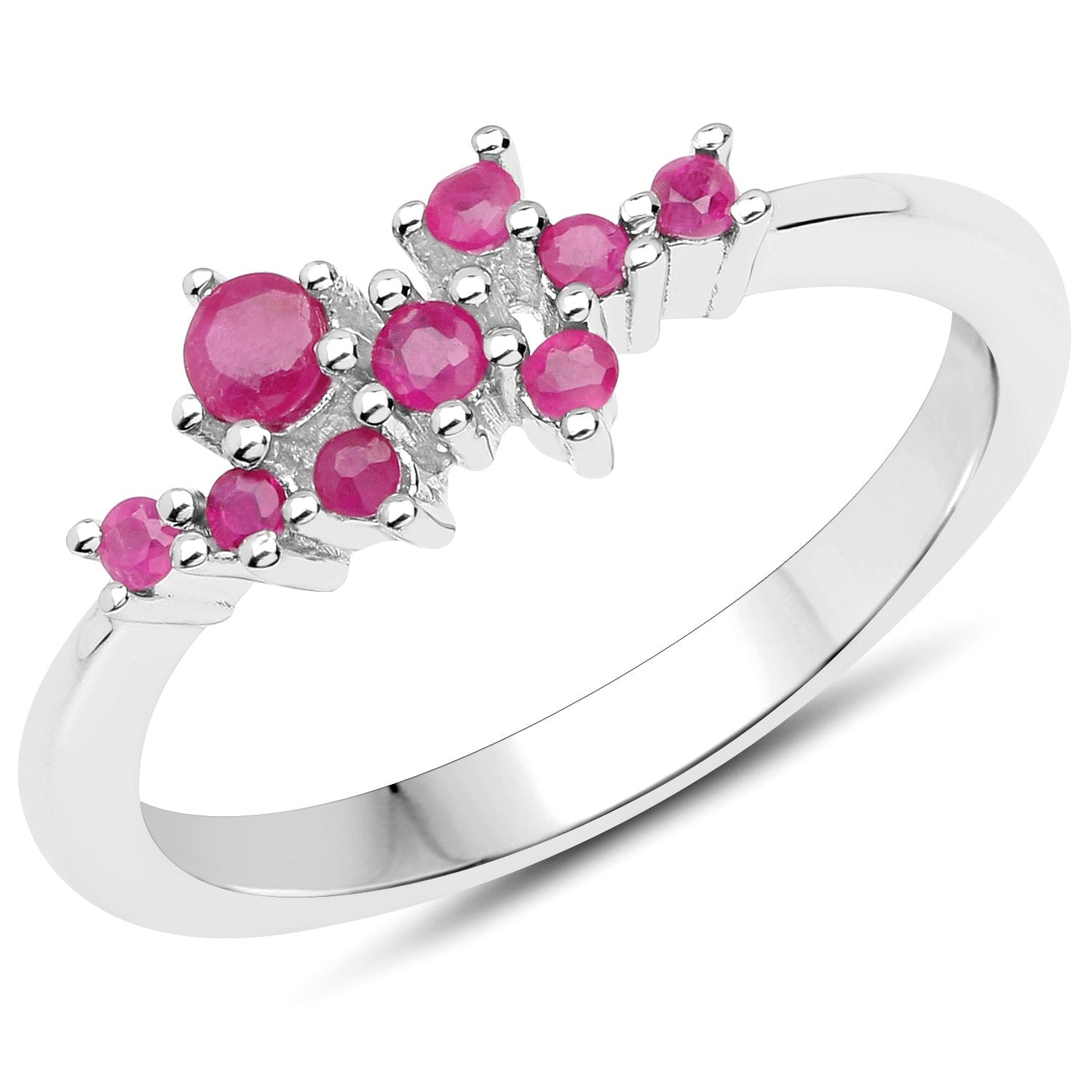 LoveHuang 0.24 Carats Genuine Ruby Ring Solid .925 Sterling Silver With Rhodium Plating
