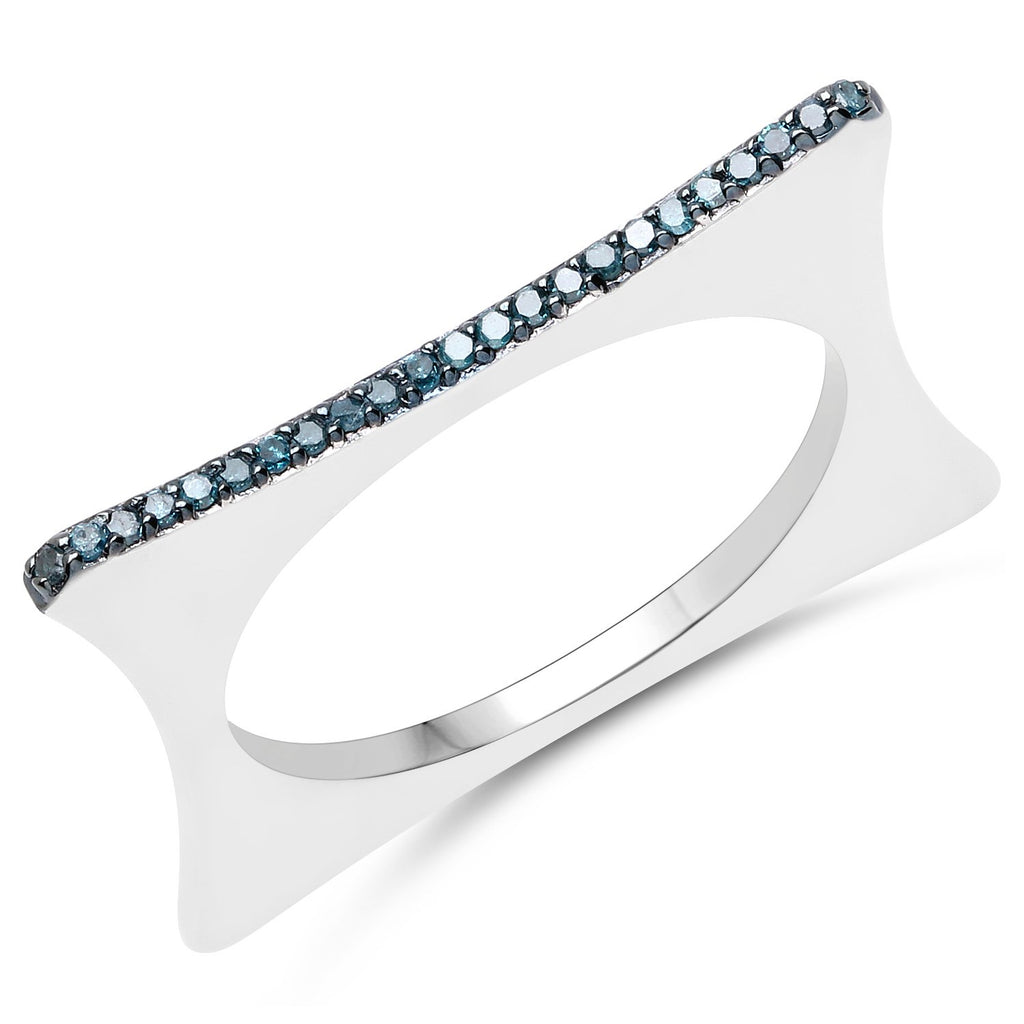 LoveHuang 0.09 Carats Genuine Blue Diamond (I-J, I2-I3) Minimalist Square Ring Solid .925 Sterling Silver With Rhodium Plating