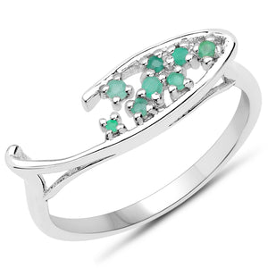 LoveHuang 0.11 Carats Genuine Emerald Ring Solid .925 Sterling Silver With Rhodium Plating