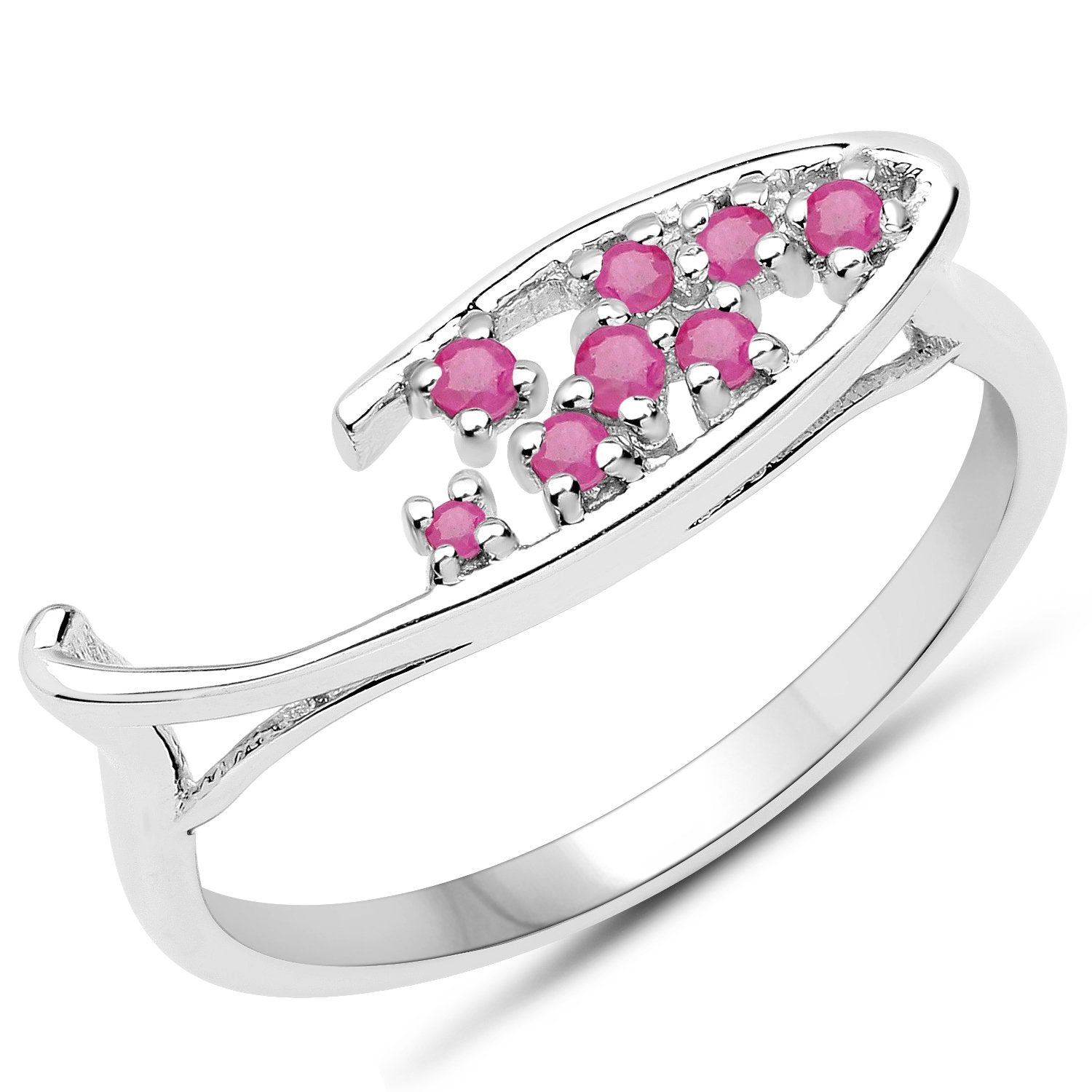 LoveHuang 0.15 Carats Genuine Ruby Ring Solid .925 Sterling Silver With Rhodium Plating