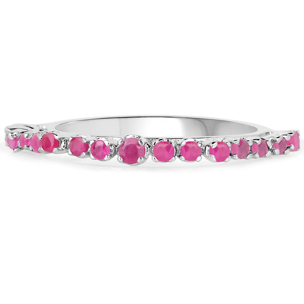 LoveHuang 0.44 Carats Genuine Ruby Stacking Ring Solid .925 Sterling Silver With Rhodium Plating