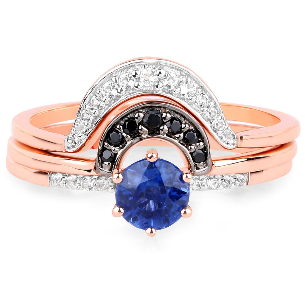 LoveHuang 0.77 Carats Genuine Kyanite and White Topaz Stacking Rings Solid .925 Sterling Silver With 18KT Rose Gold Plating, 3 Separate Rings