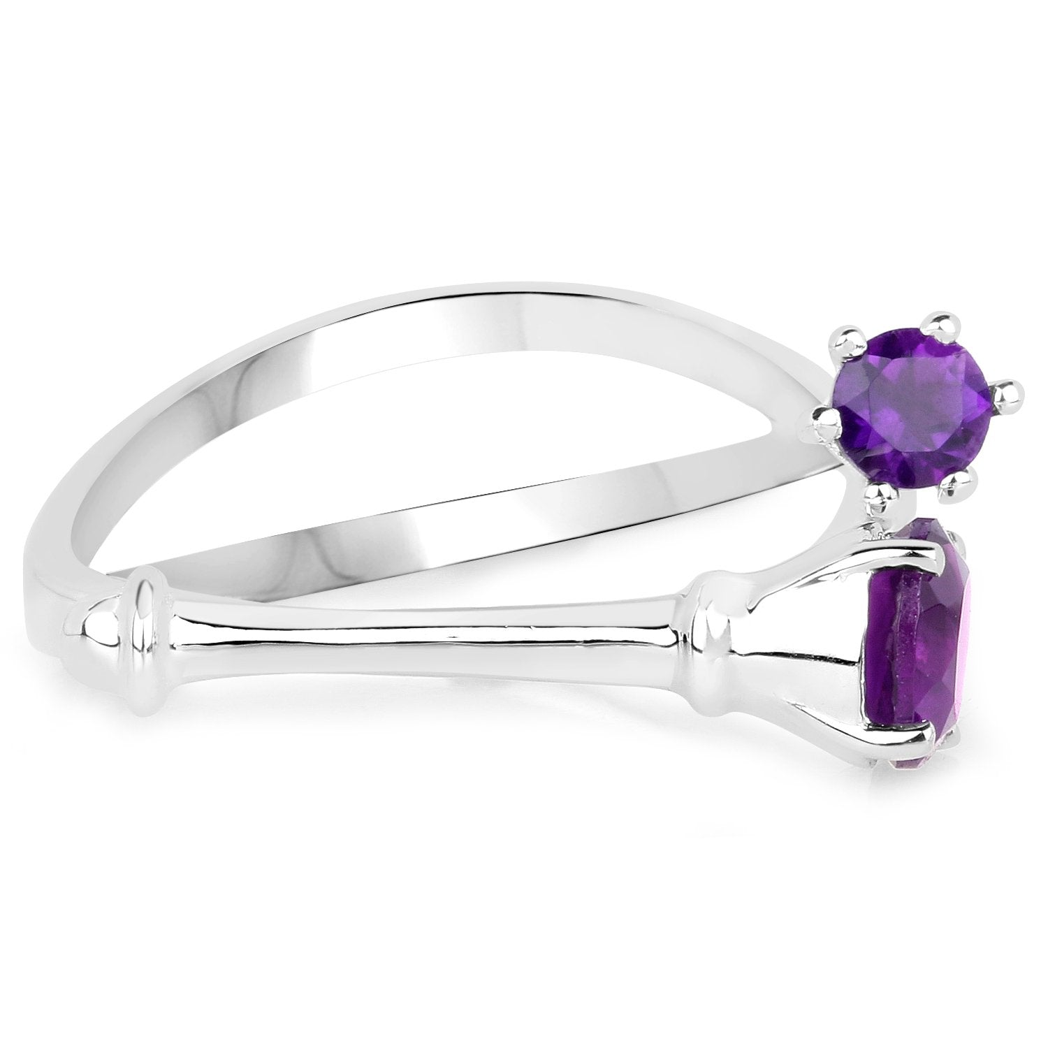 LoveHuang 0.64 Carats Genuine Amethyst Bones Ring Solid .925 Sterling Silver With Rhodium Plating
