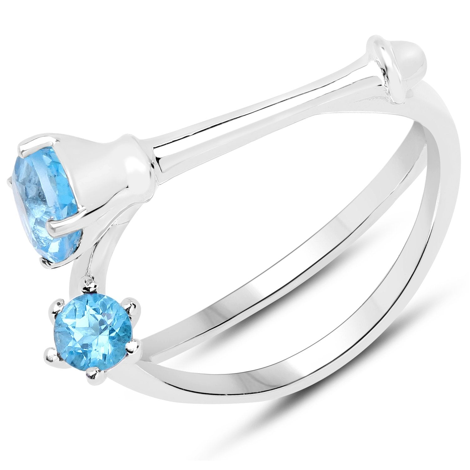 LoveHuang 0.67 Carats Genuine Swiss Blue Topaz Bones Ring Solid .925 Sterling Silver With Rhodium Plating