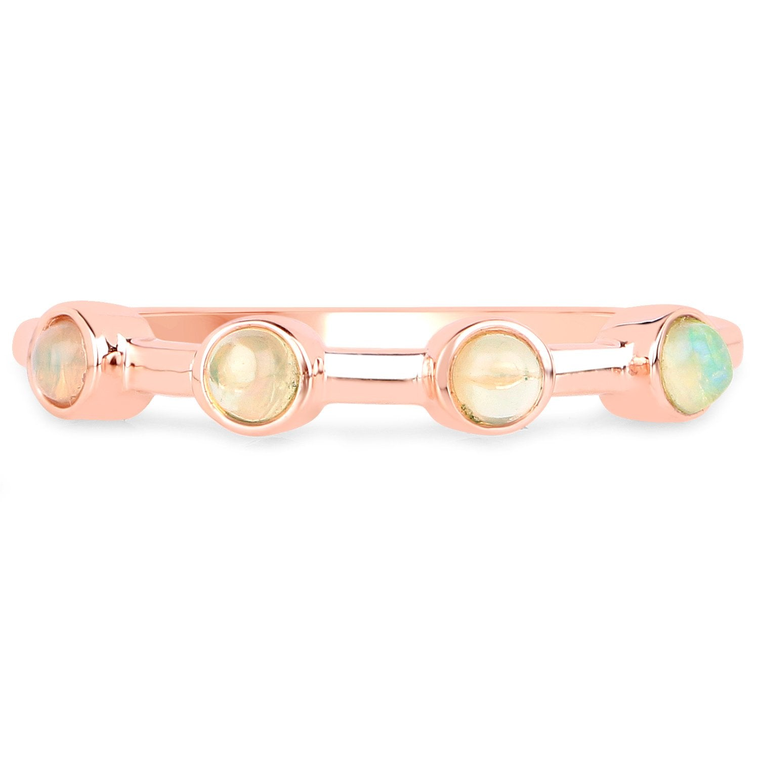 LoveHuang 0.15 Carats Genuine Ethiopian Opal Ring Solid .925 Sterling Silver With 18KT Rose Gold Plating