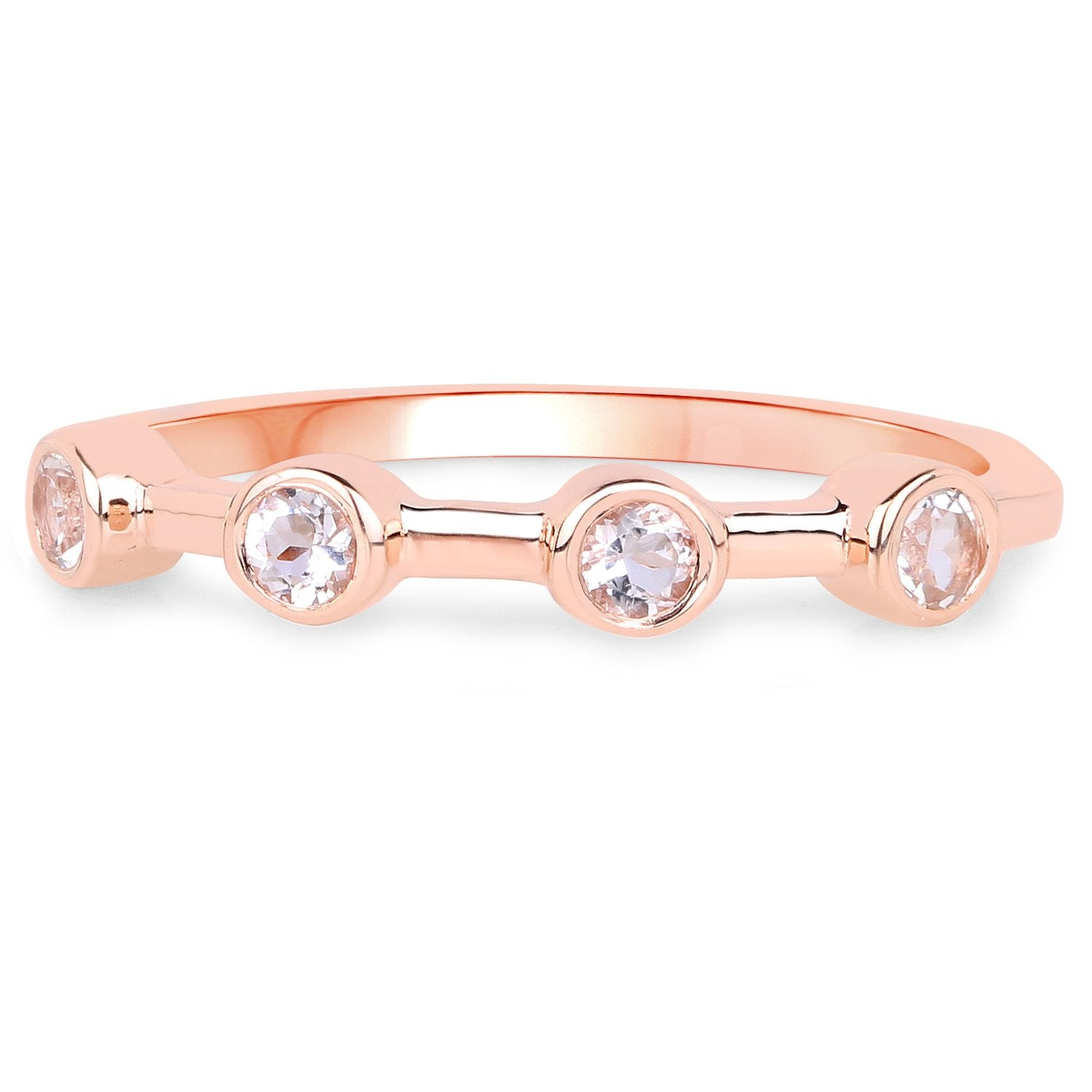 LoveHuang 0.22 Carats Genuine Morganite Art Deco Ring Solid .925 Sterling Silver With 18KT Rose Gold Plating